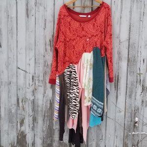 Boho Sweater Dress Upcycled Custom Patchwork